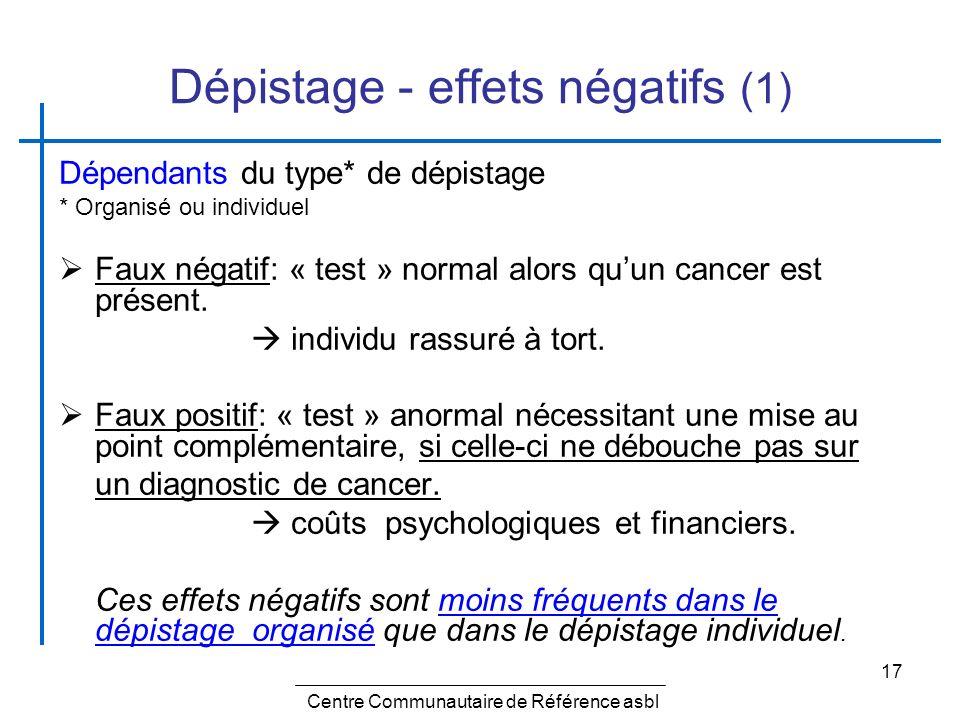 Dépistage - effets négatifs (1)