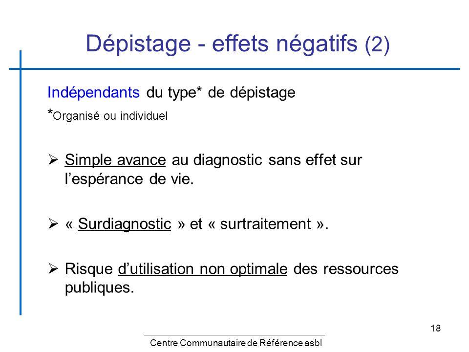 Dépistage - effets négatifs (2)