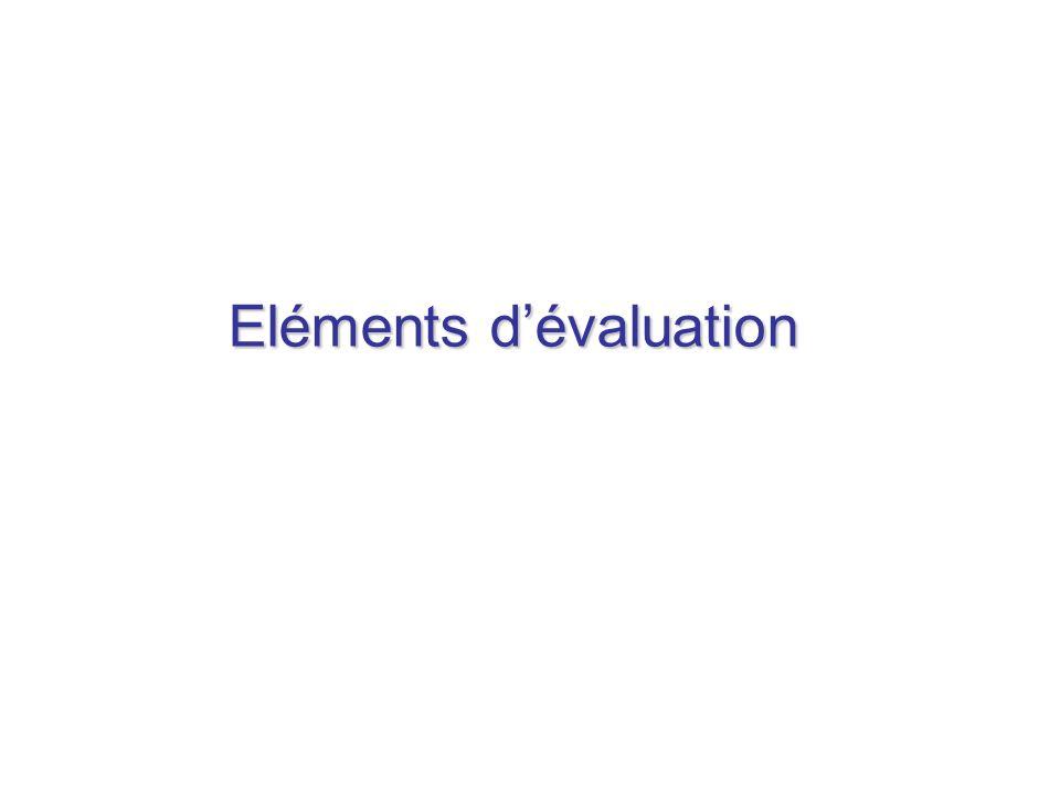 Eléments d'évaluation