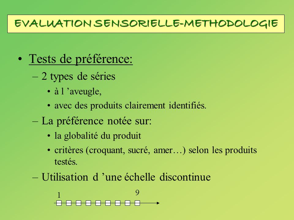 EVALUATION SENSORIELLE-METHODOLOGIE