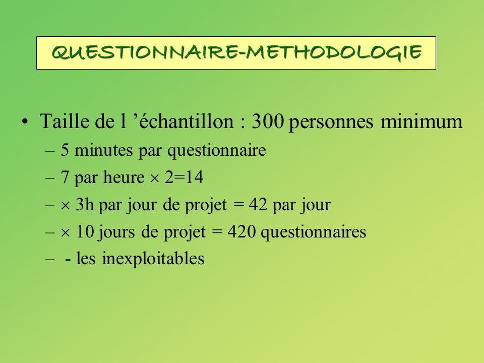 QUESTIONNAIRE-METHODOLOGIE