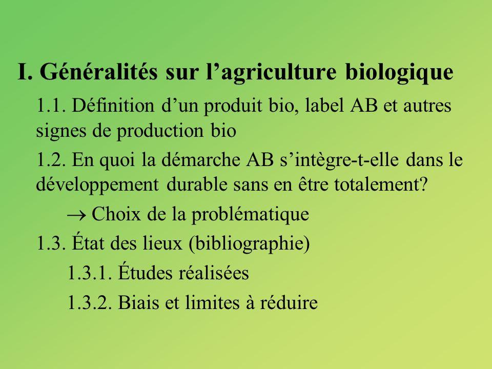 I. Généralités sur l'agriculture biologique