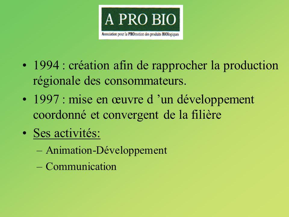 1994 : création afin de rapprocher la production régionale des consommateurs.