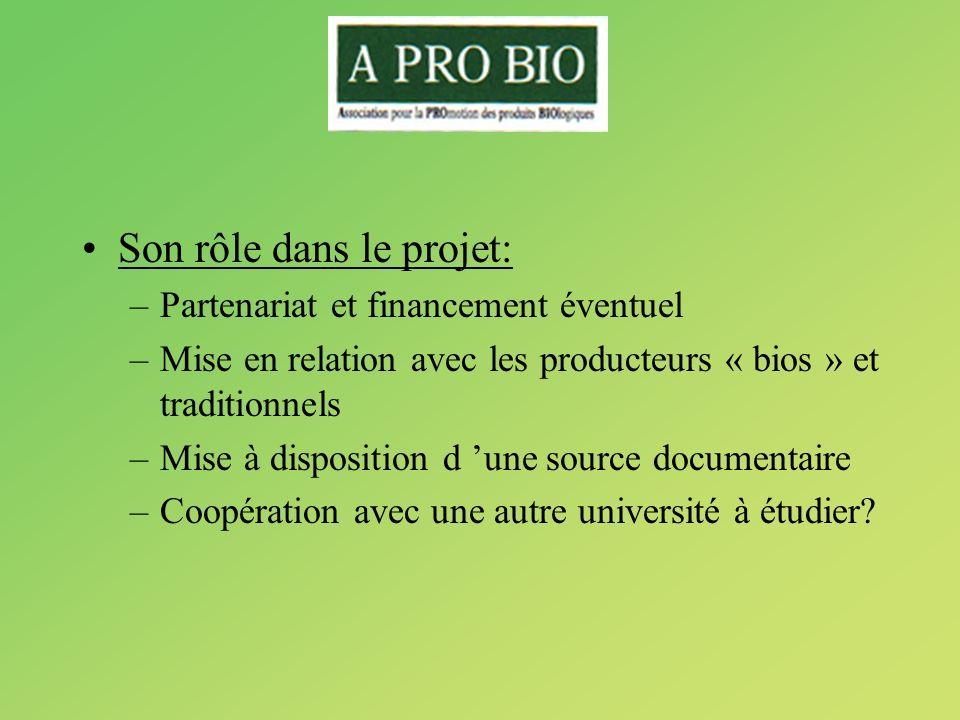 Son rôle dans le projet: