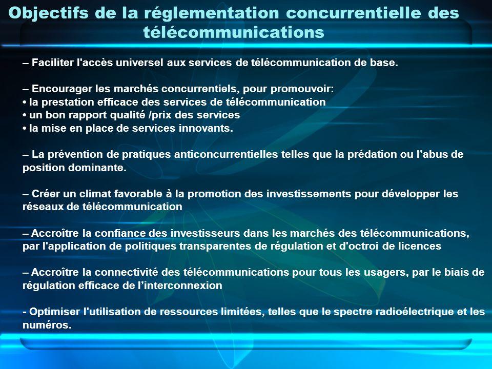 Objectifs de la réglementation concurrentielle des télécommunications