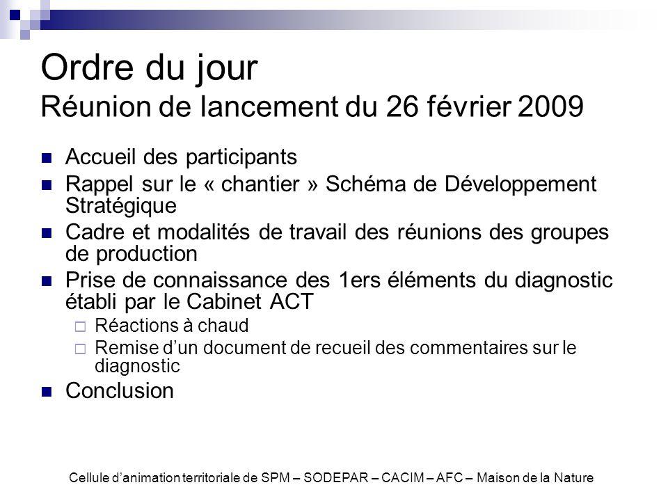 Ordre du jour Réunion de lancement du 26 février 2009