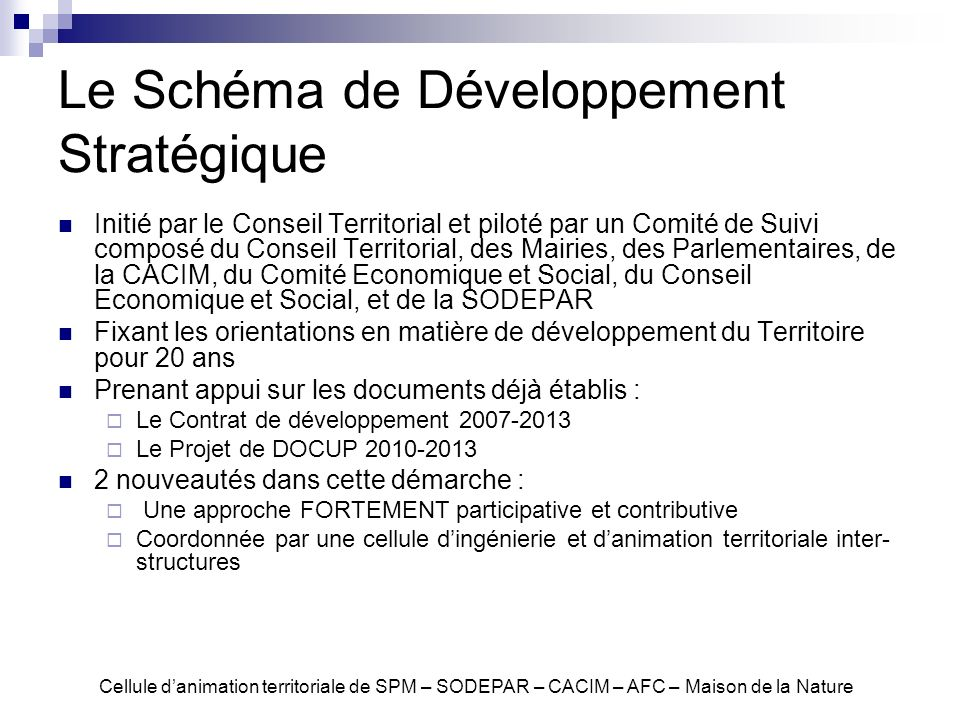 Le Schéma de Développement Stratégique
