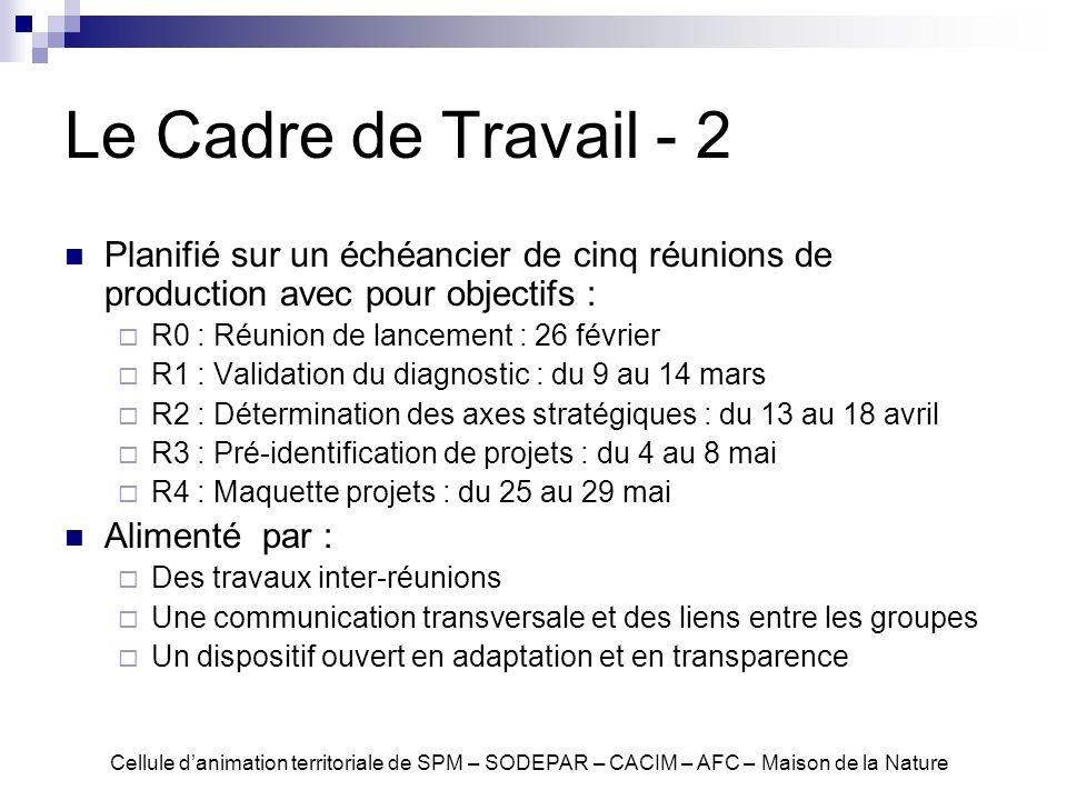 Le Cadre de Travail - 2 Planifié sur un échéancier de cinq réunions de production avec pour objectifs :