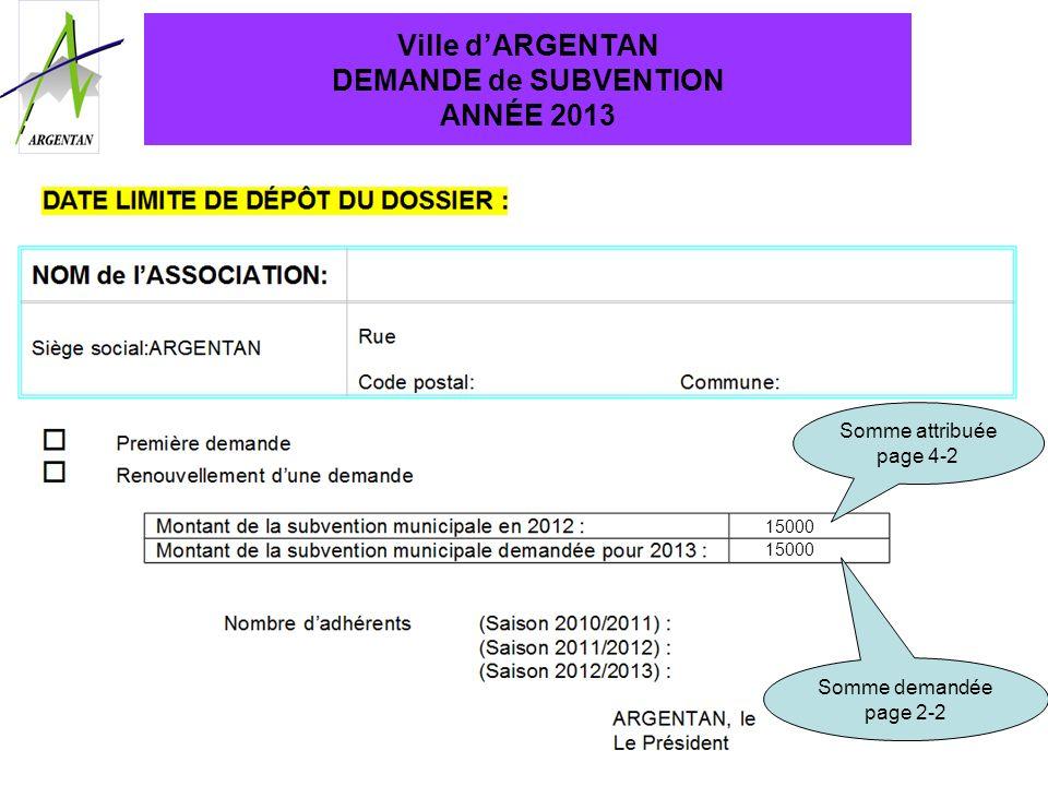 Ville d'ARGENTAN DEMANDE de SUBVENTION ANNÉE 2013