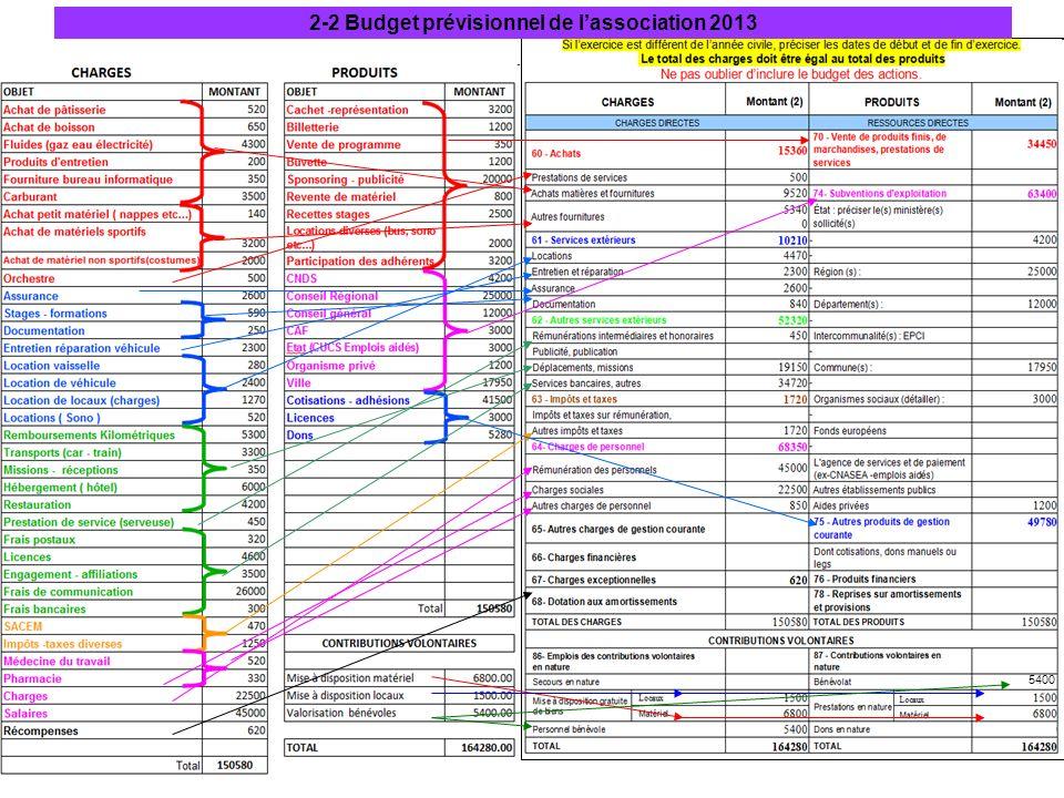 2-2 Budget prévisionnel de l'association 2013