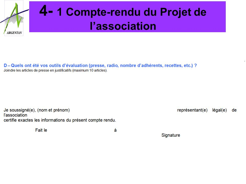 4- 1 Compte-rendu du Projet de l'association