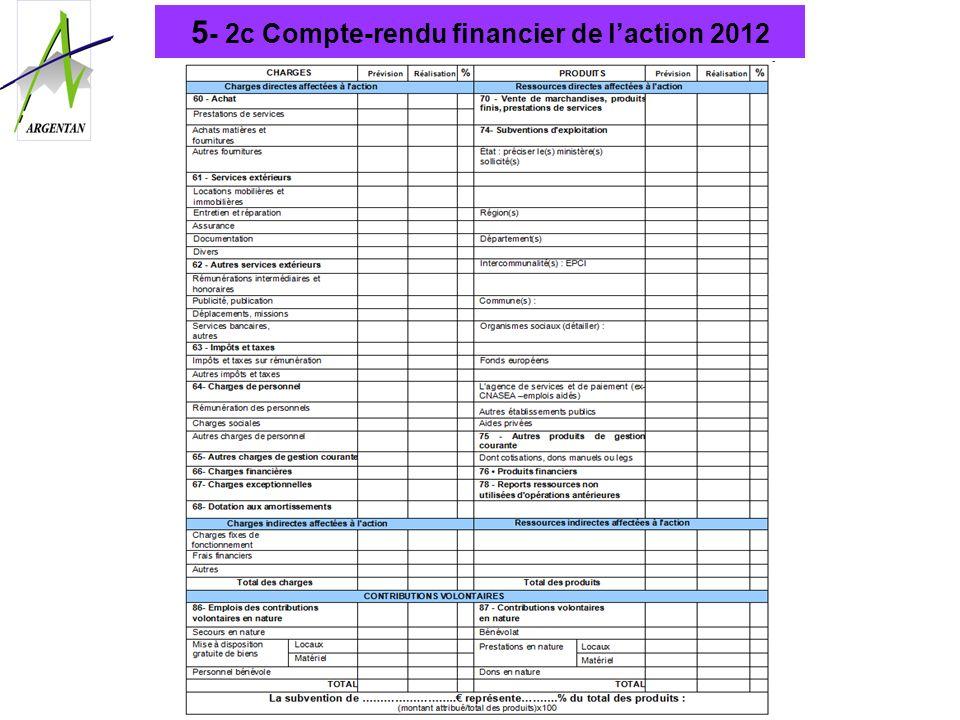 5- 2c Compte-rendu financier de l'action 2012