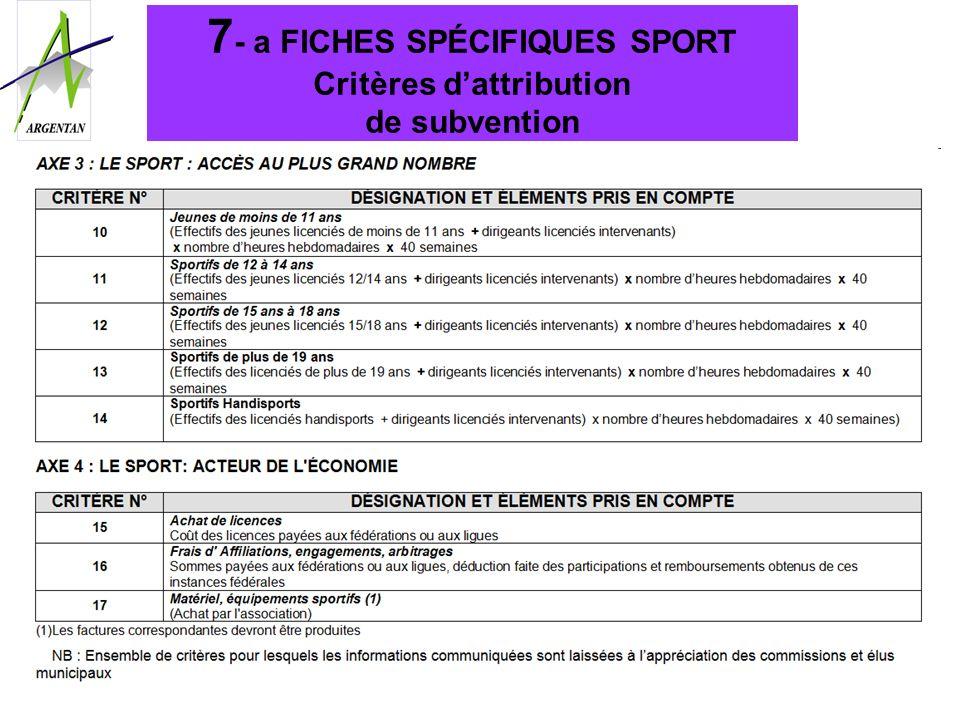 7- a FICHES SPÉCIFIQUES SPORT Critères d'attribution de subvention
