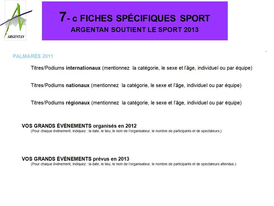 7- c FICHES SPÉCIFIQUES SPORT ARGENTAN SOUTIENT LE SPORT 2013
