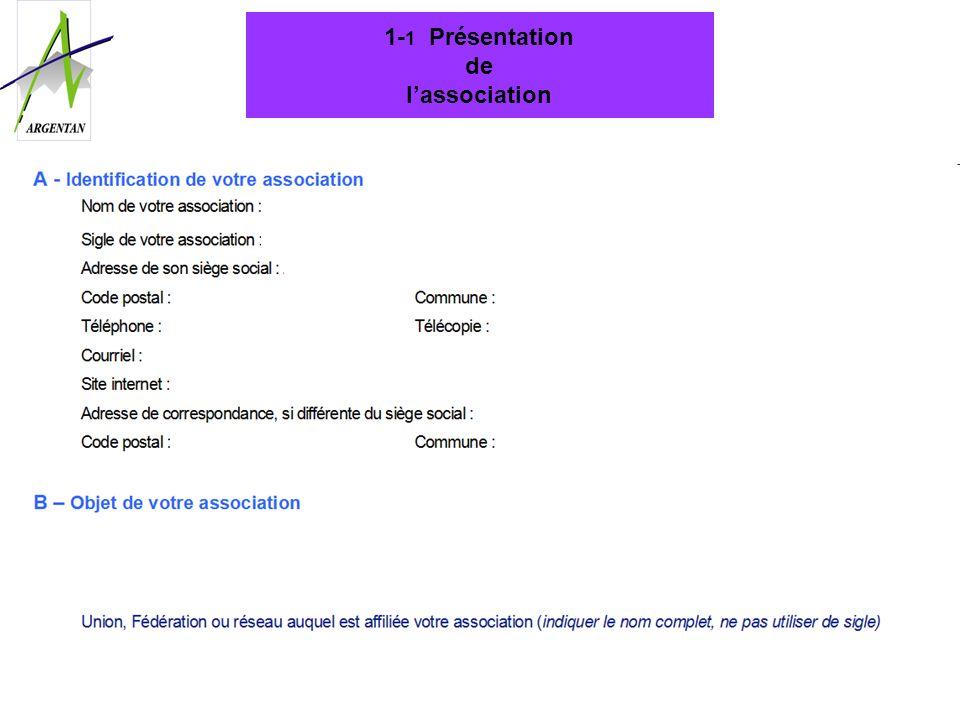 1-1 Présentation de l'association