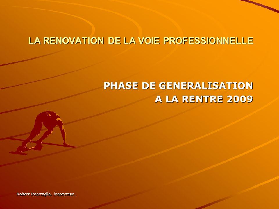 LA RENOVATION DE LA VOIE PROFESSIONNELLE