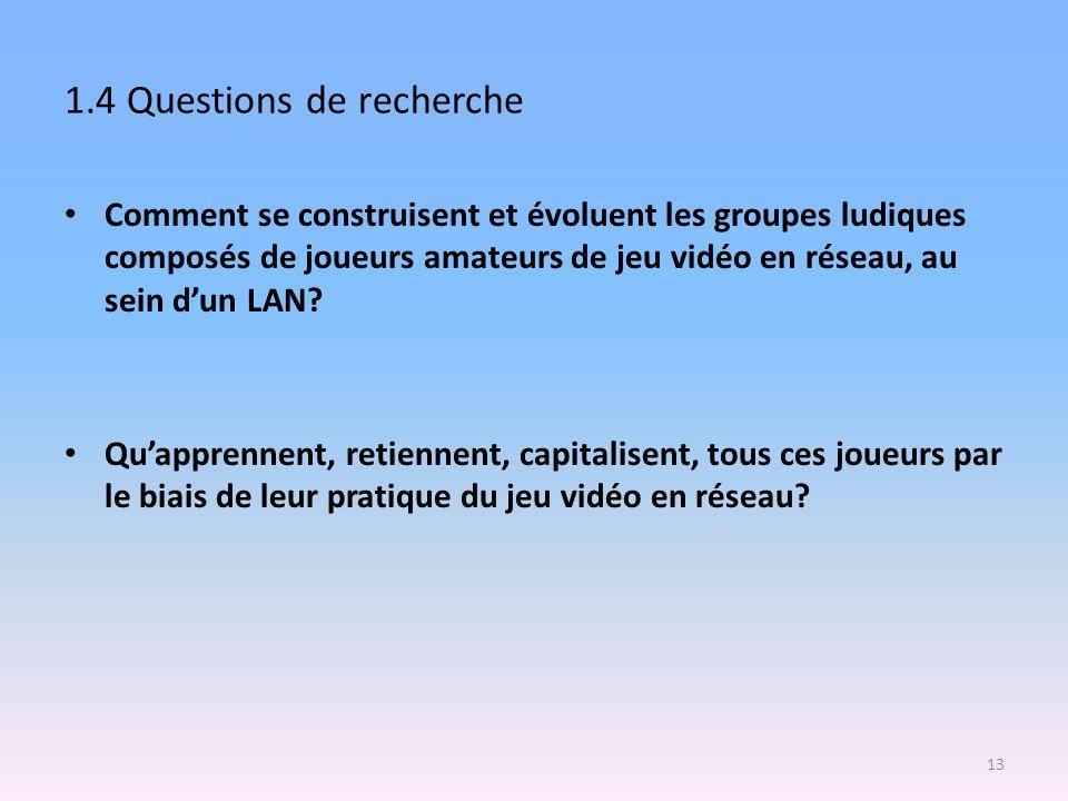 1.4 Questions de recherche