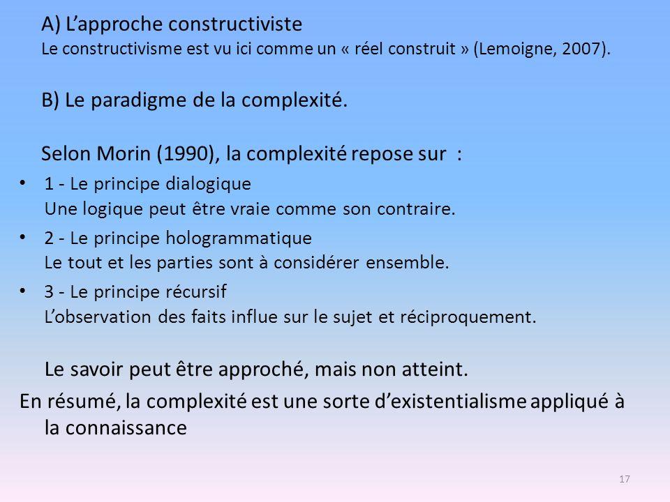 A) L'approche constructiviste Le constructivisme est vu ici comme un « réel construit » (Lemoigne, 2007). B) Le paradigme de la complexité. Selon Morin (1990), la complexité repose sur :