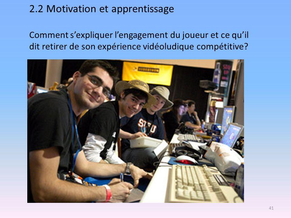 2.2 Motivation et apprentissage Comment s'expliquer l'engagement du joueur et ce qu'il dit retirer de son expérience vidéoludique compétitive