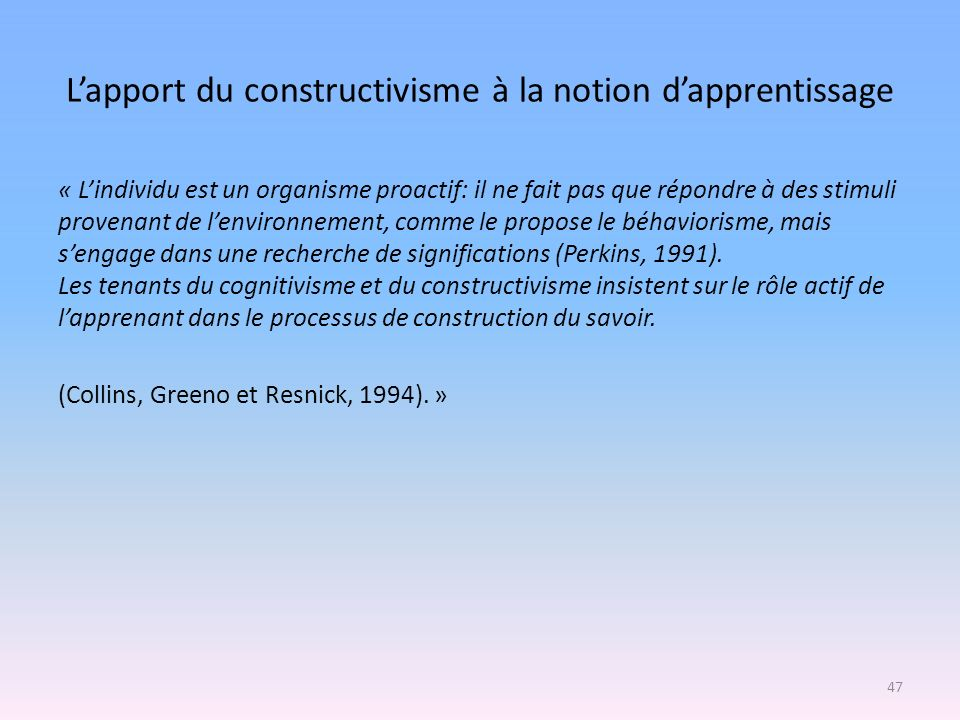 L'apport du constructivisme à la notion d'apprentissage