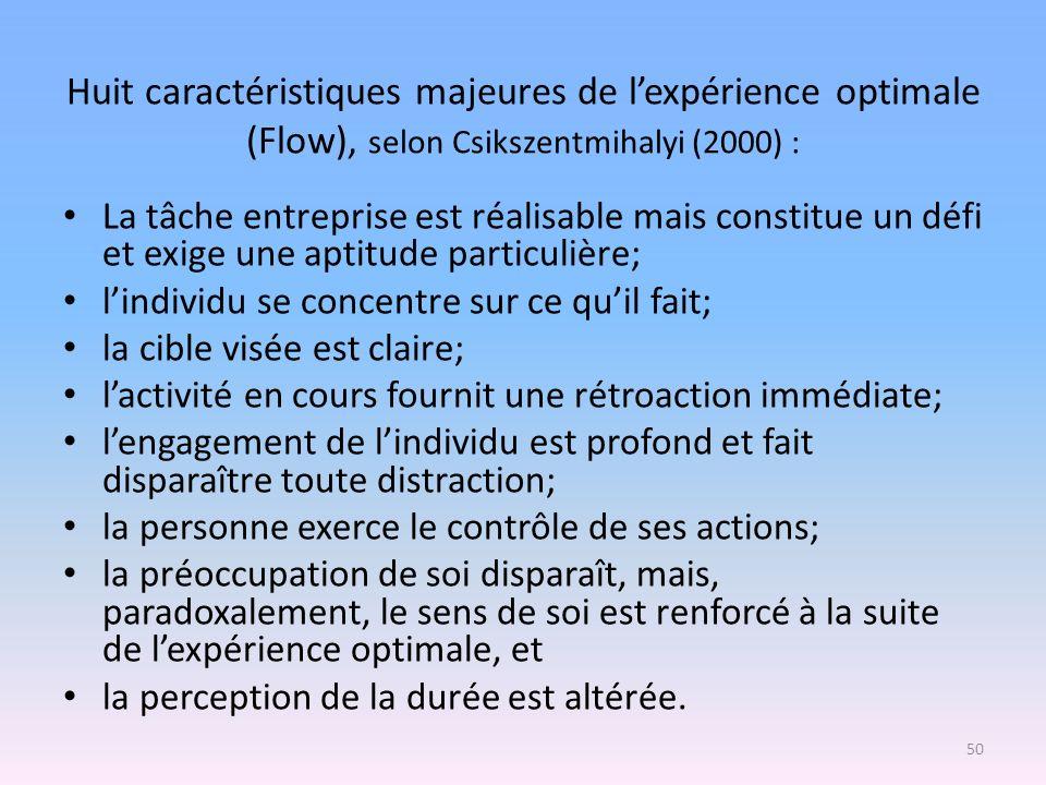 Huit caractéristiques majeures de l'expérience optimale (Flow), selon Csikszentmihalyi (2000) :