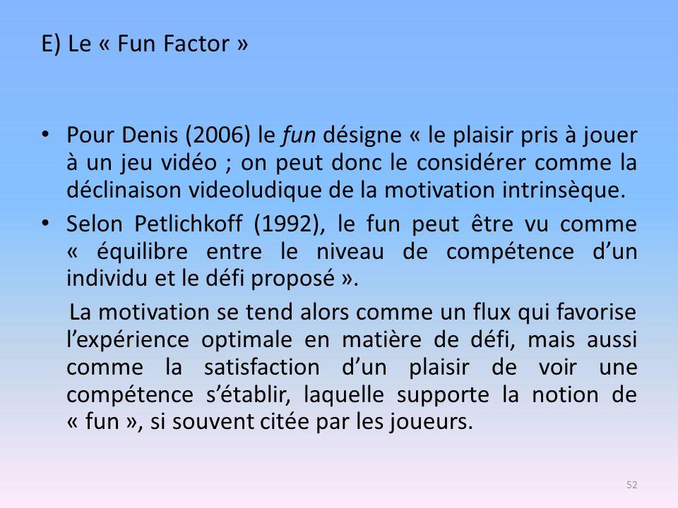 E) Le « Fun Factor »