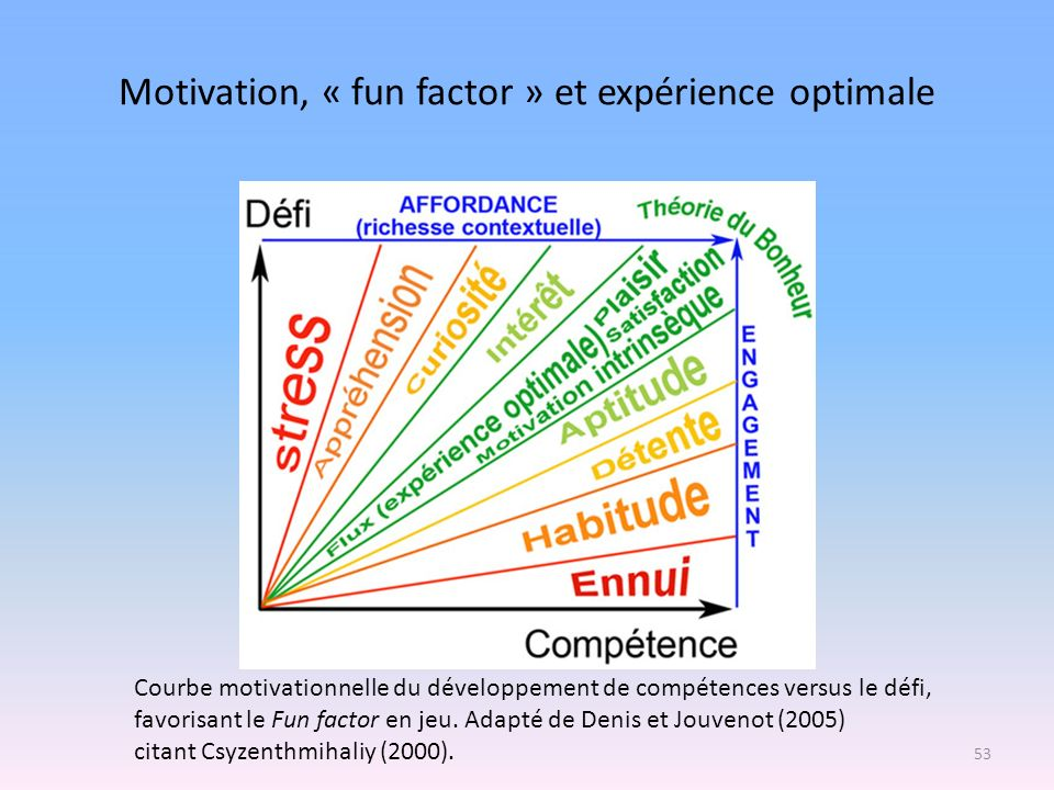 Motivation, « fun factor » et expérience optimale