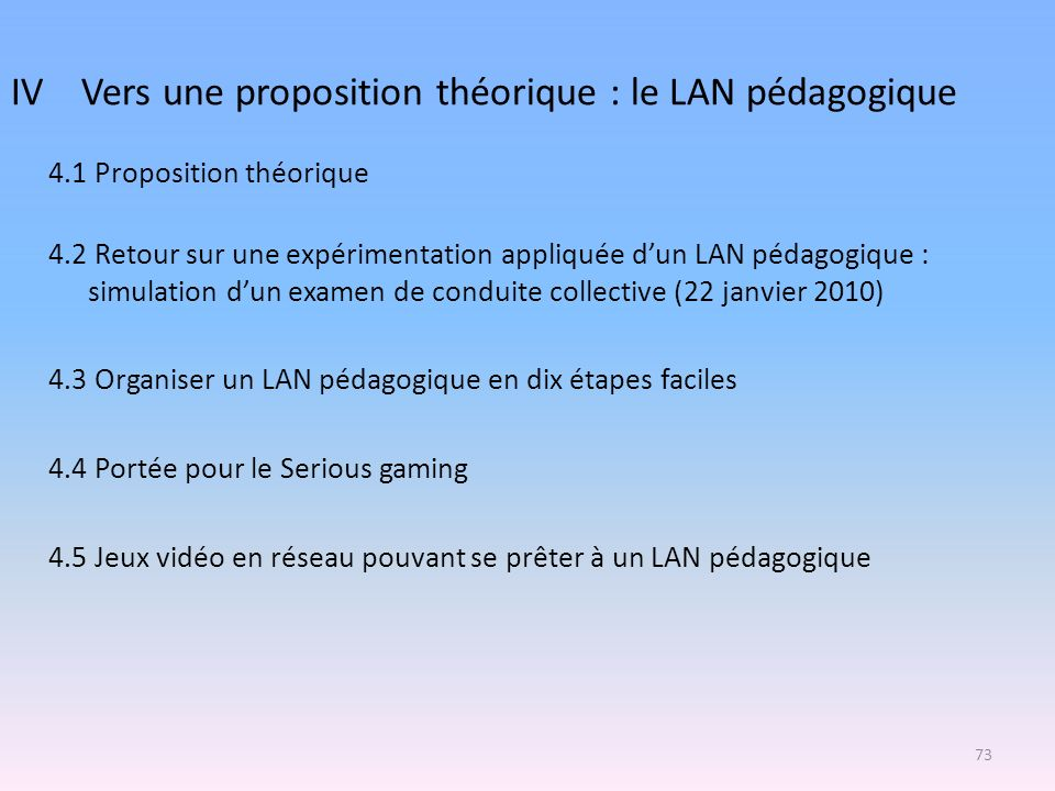 IV Vers une proposition théorique : le LAN pédagogique