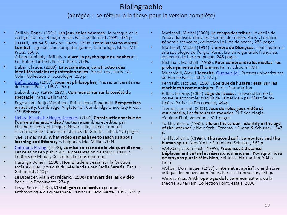 Bibliographie (abrégée : se référer à la thèse pour la version complète)