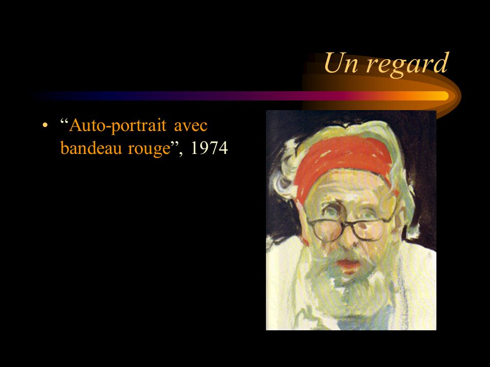 Un regard Auto-portrait avec bandeau rouge , 1974