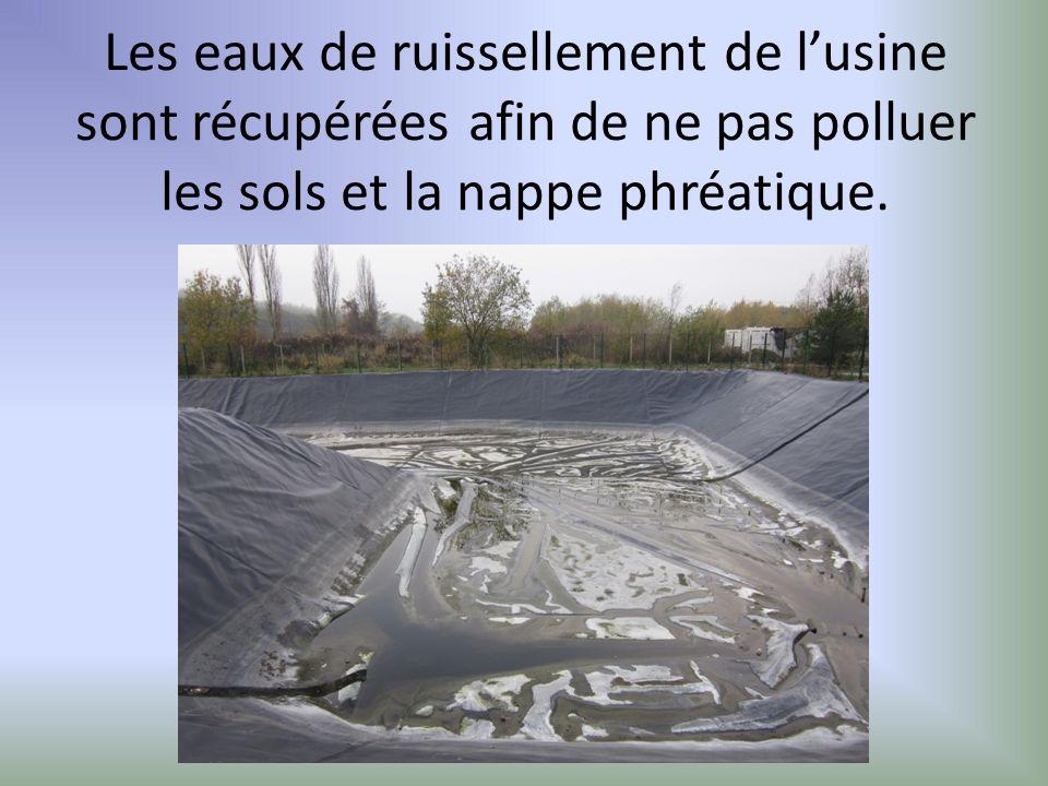 Les eaux de ruissellement de l'usine sont récupérées afin de ne pas polluer les sols et la nappe phréatique.