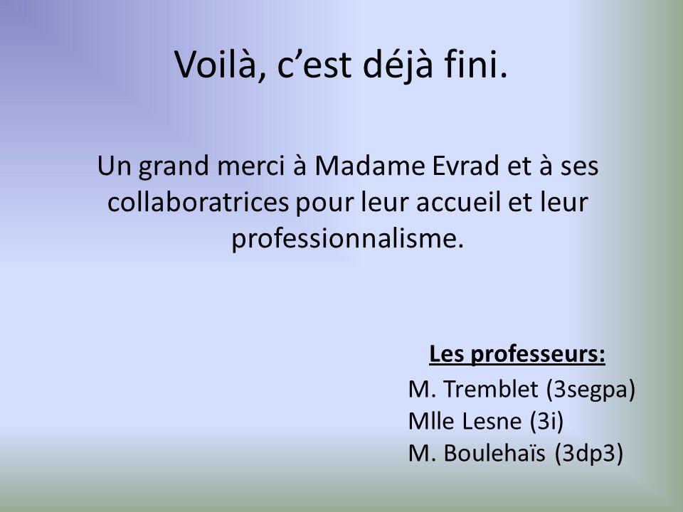Voilà, c'est déjà fini. Un grand merci à Madame Evrad et à ses collaboratrices pour leur accueil et leur professionnalisme.