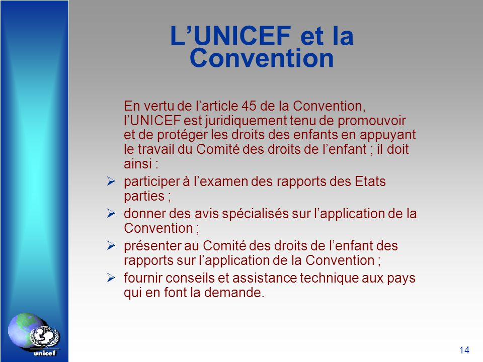 L'UNICEF et la Convention