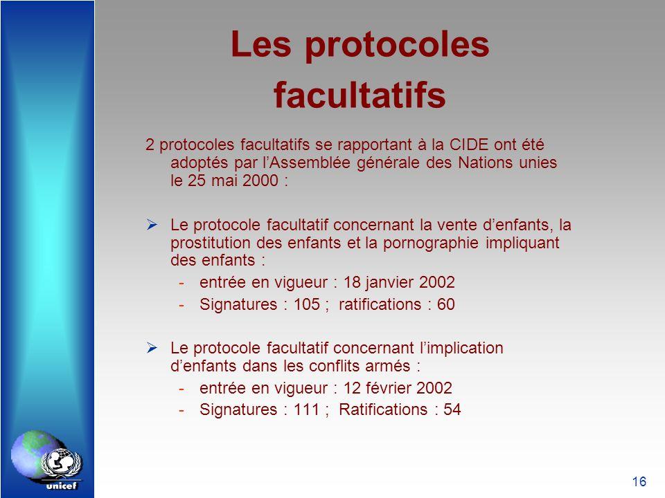 Les protocoles facultatifs