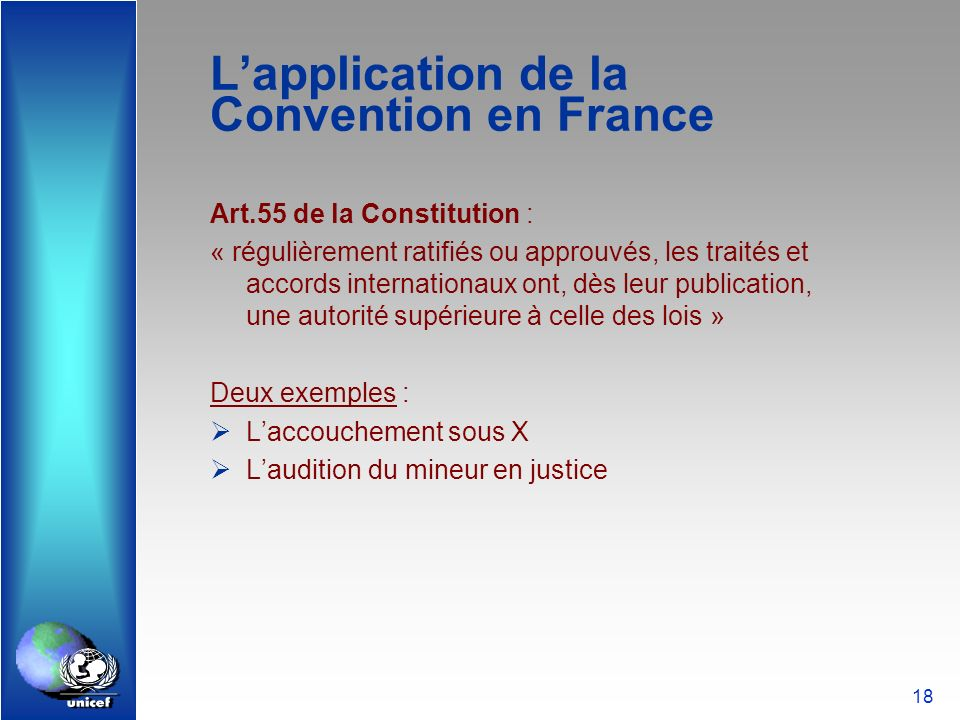 L'application de la Convention en France