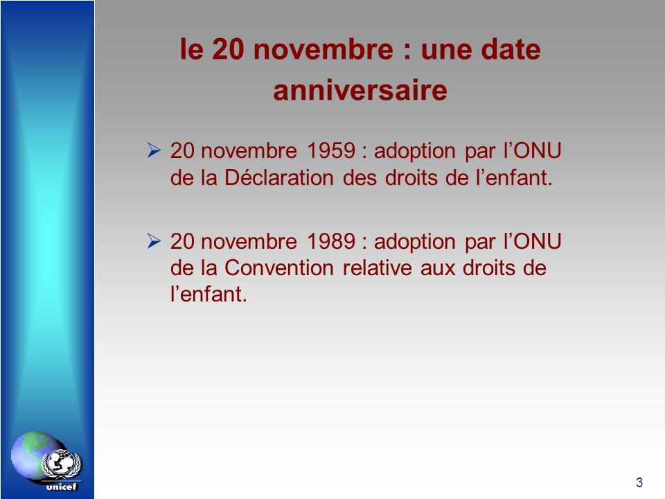le 20 novembre : une date anniversaire