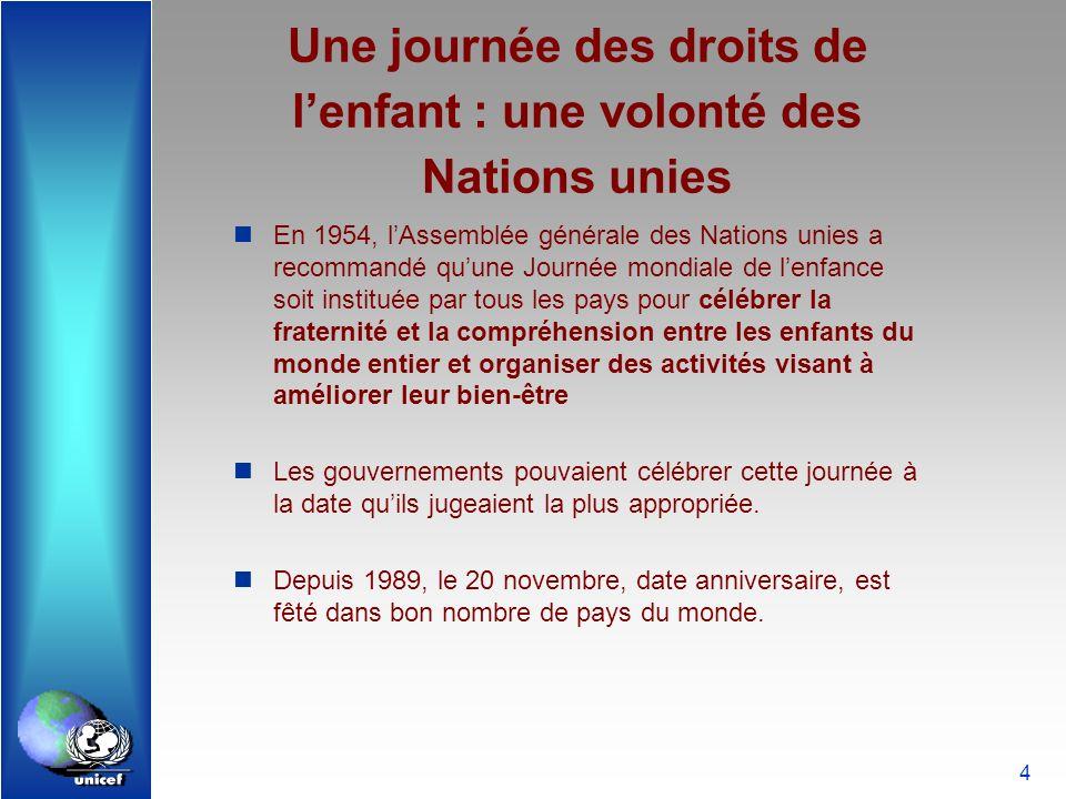 Une journée des droits de l'enfant : une volonté des Nations unies