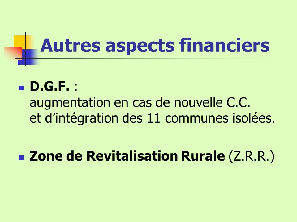 Autres aspects financiers