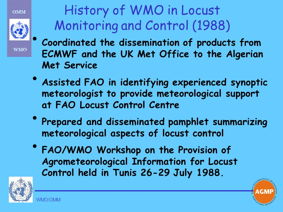 History of WMO in Locust Monitoring and Control (1988)