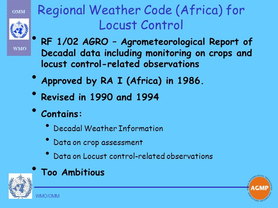 Regional Weather Code (Africa) for Locust Control