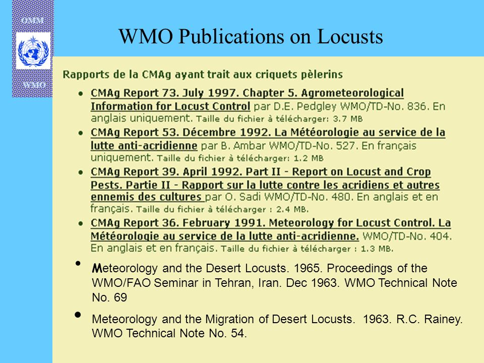 WMO Publications on Locusts
