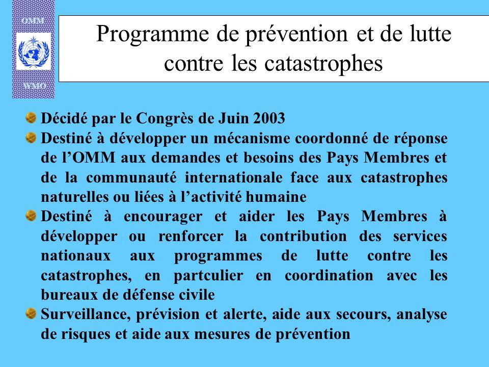 Programme de prévention et de lutte contre les catastrophes