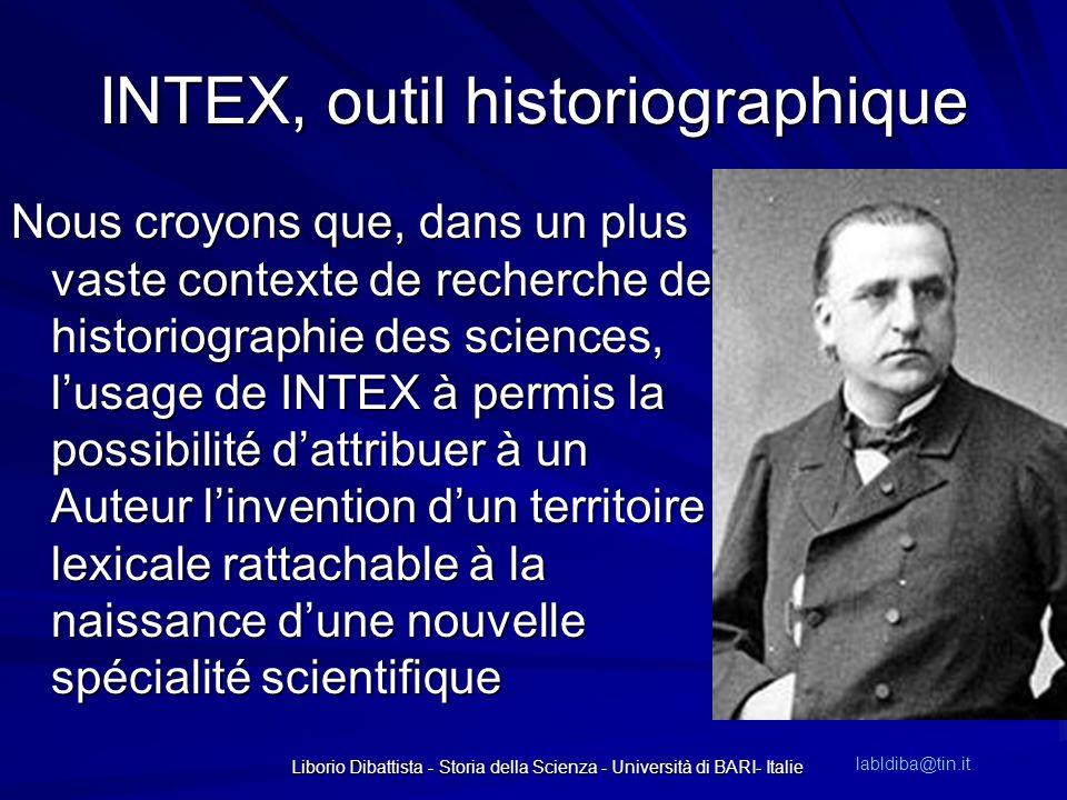 INTEX, outil historiographique