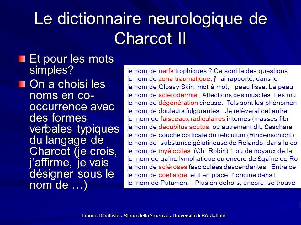 Le dictionnaire neurologique de Charcot II