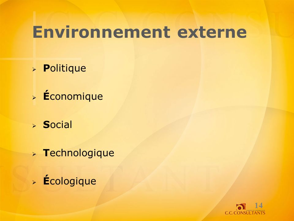 Environnement externe