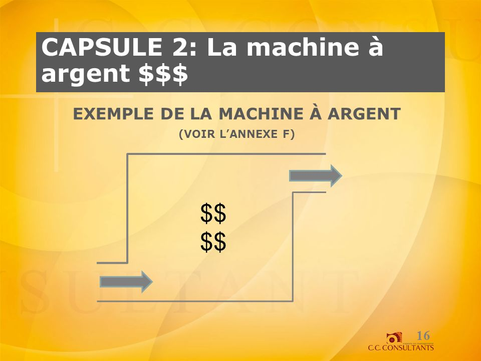 Exemple de la machine à argent