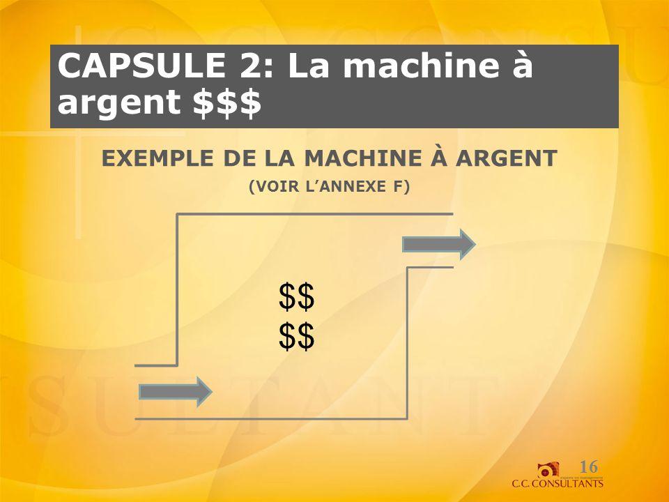 Exemple de la machine à argent