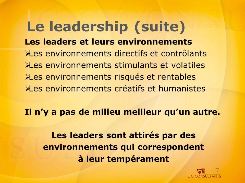 Les leaders sont attirés par des environnements qui correspondent