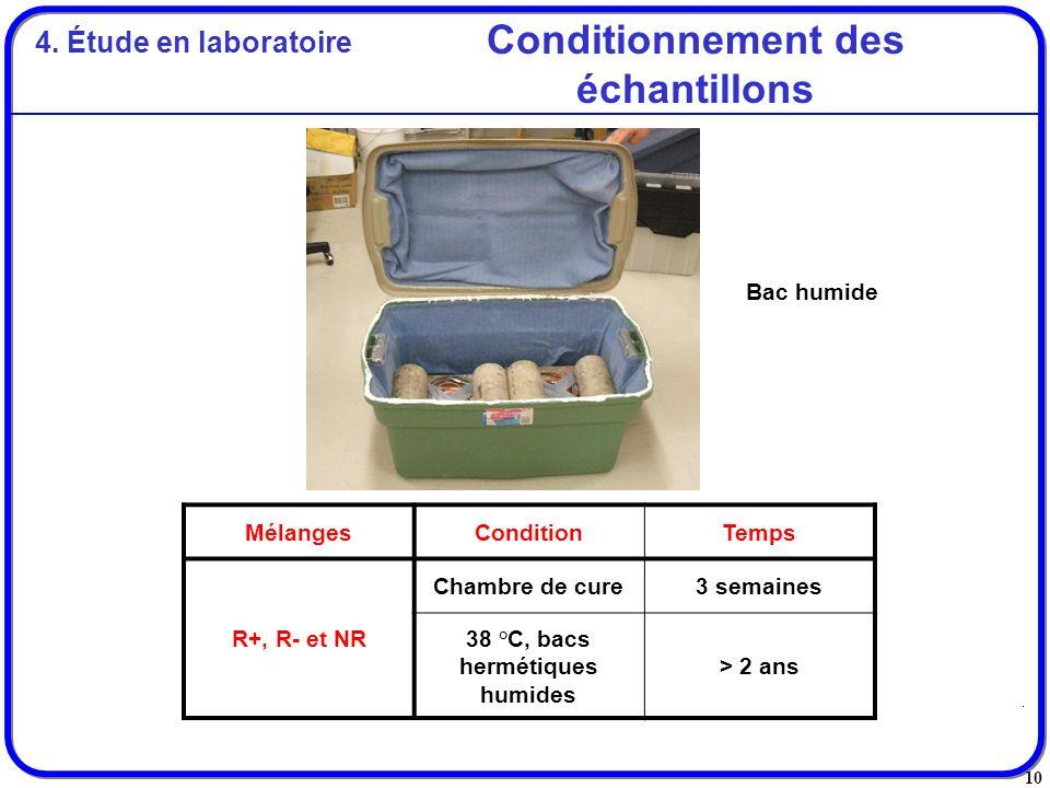 Conditionnement des échantillons 38 °C, bacs hermétiques humides