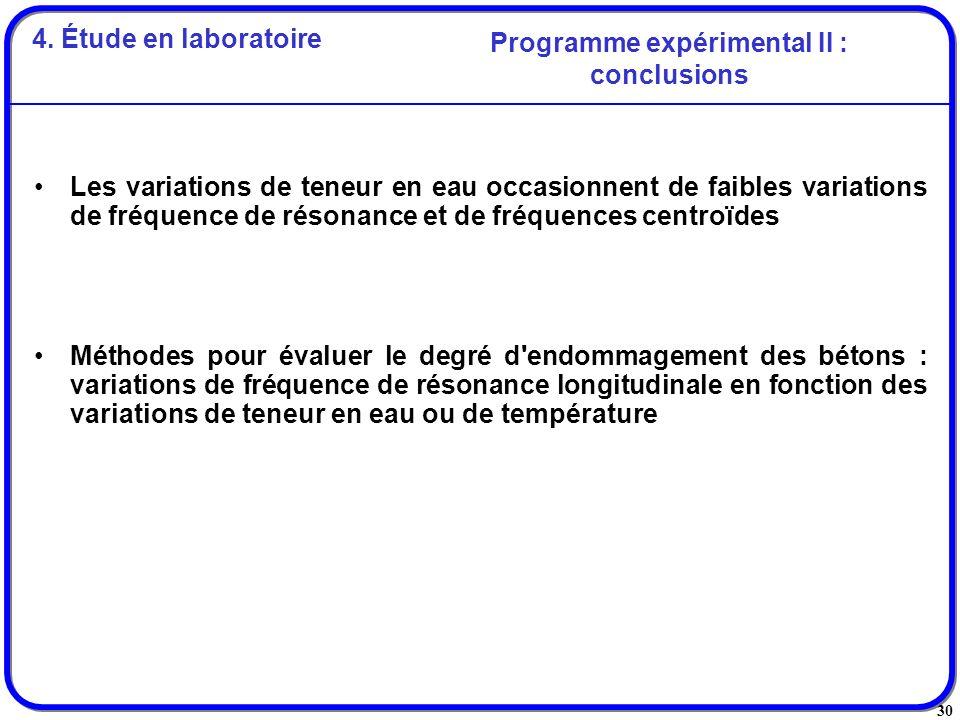 Programme expérimental II : conclusions